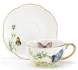 porcelana de la mariposa vaso y plato fijado con el accesor
