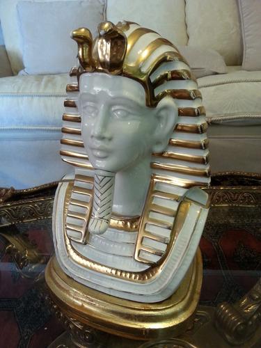 porcelana de tutankamon con lamina de oro al horno firmado