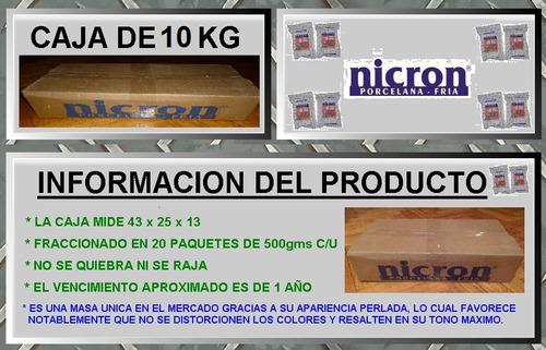 porcelana fria nicron 10kg / 20 paq. de 500g porcelana mora