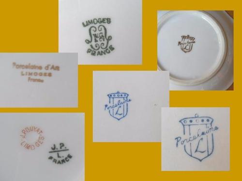 porcelana limoges sellada, 6 piezas- precio por el lote