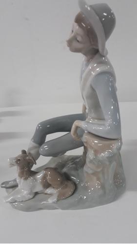 porcelana lladro caballero con su perro