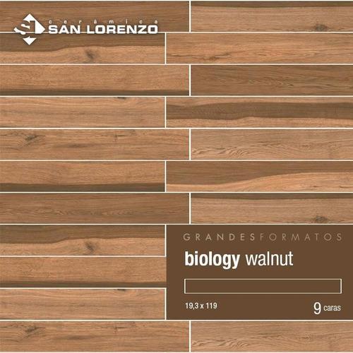 porcelanato biology walnut 19.3x119 simil madera san lorenzo