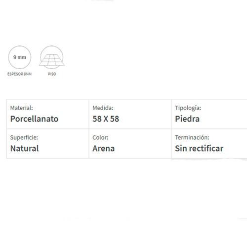 porcelanato san lorenzo el borne arena 58x58 sin rectif 1ra