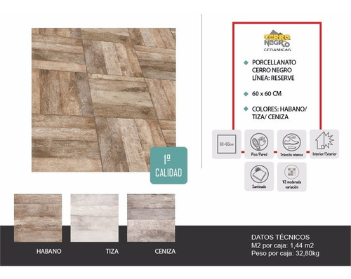 porcelanatos de piso y pared cerro negro reserve simil madera 61x61 1ra