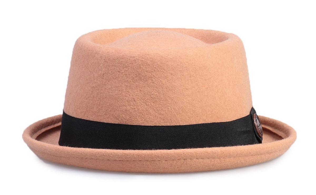 Chapéu Pork Pie Bege 100% Lã Aba Curva 4cm Ótima Qualidade - R  119 ... 52a38c1b3da