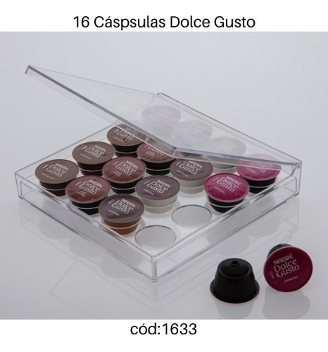 porta 16 cápsulas dolce gusto elegance paramount 25x25x5cm