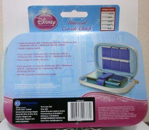 porta 3ds formato bolsa personagens princesas disney cindere