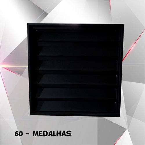porta 60 medalhas coleção (estante c/ portas) quadro (preta)