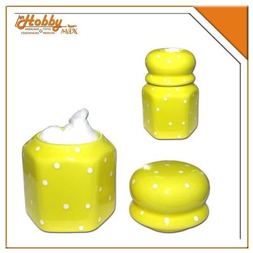 porta algodão porcelana sextavado - amarelo/poá branco
