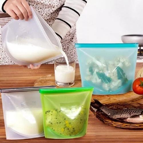 porta alimentos/saco silicone reutilizavel freezer microndas