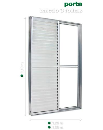 porta balcão 3 folhas 2,10 x 1,20 alumínio branco
