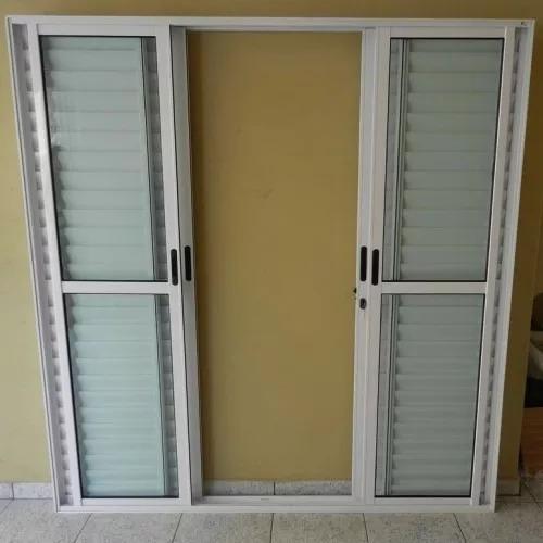 porta balcão 6folhas de alum 210x150 branca l.25 c/fechadura