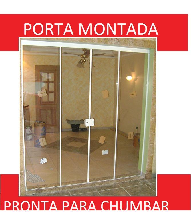 Porta balc o janela 4f vidro temperado t blindex 1400x2100 for Porta 4 folhas de vidro temperado