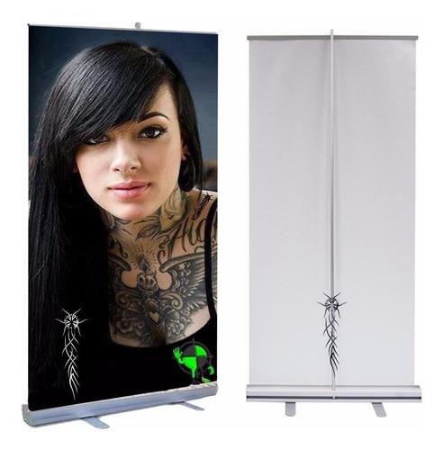 porta banner roll up 85x200 cm + banner impreso ploteos