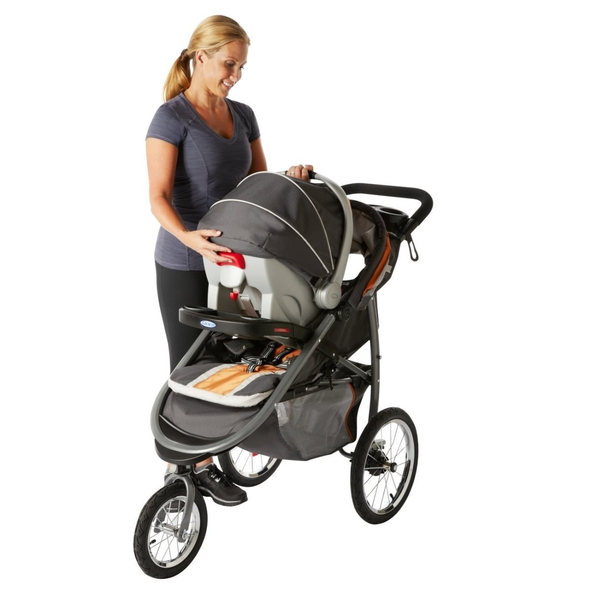 Carreola infantil 3 ruedas porta bebe graco fastaction hm4 for Coches para 3 sillas infantiles