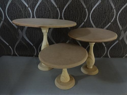 porta bolo ou cup cake com pés torneados kit 3 pçs provençal