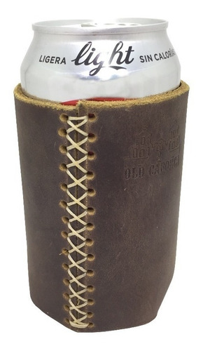 porta bote / lata de piel  rústico old caborca - artesanal