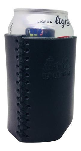 porta bote / porta lata piel negro old caborca - artesanal