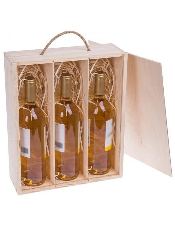 Porta botellas caja para vino de madera cajon para regalo - Cajas de madera para botellas ...