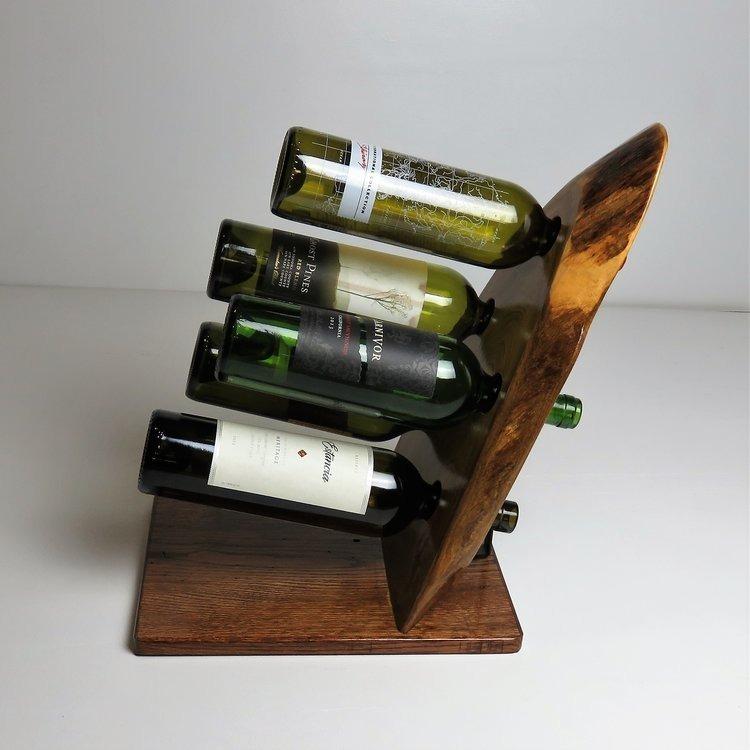 Porta botellas de vino botellero de madera con corteza - Botellero de madera para vino ...