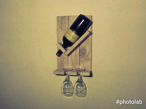 porta botellas  l  dos copas de madera