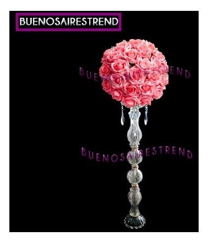 Porta Bouquet De Vidrio Pie De Topiario 60cm Arreglo Floral