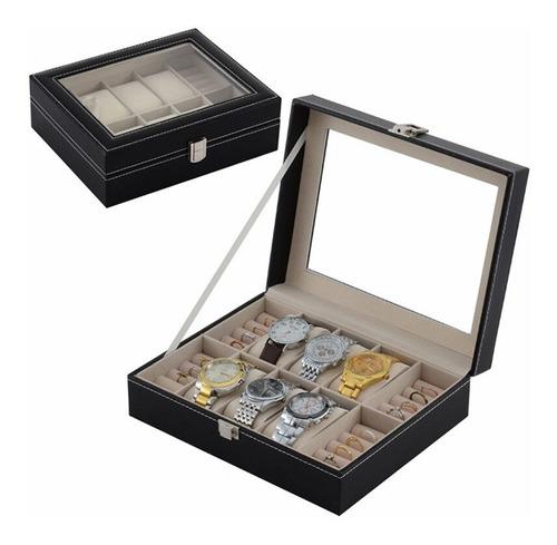 porta caixa estojo para relogios joias brincos madeira couro