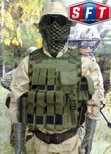 porta cargador cuadruple mp5 fmk3 y pistola molle verde sft®