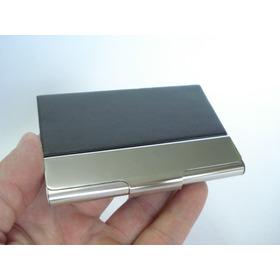 Porta Cartão Visitas Preto Placa Metal Polido