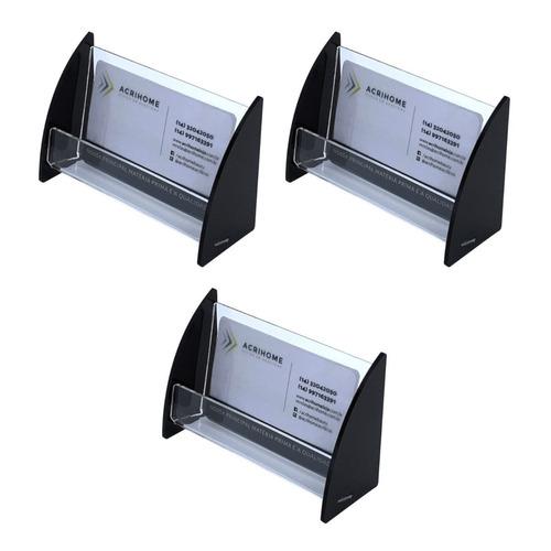 porta cartão de visita de mesa em acrilico preto - 3 peças
