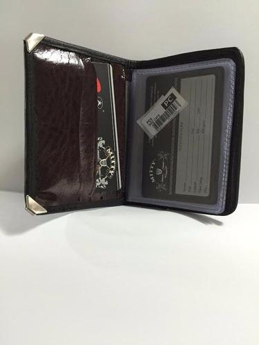 porta cartão mitty couro com cantoneira + refil plpc  - pc5