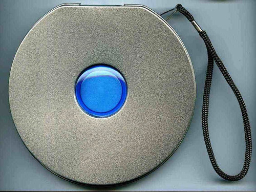 porta cd de metal azul