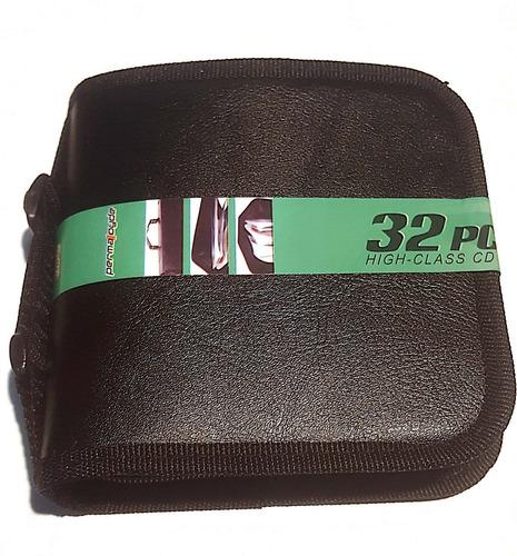porta cd dvd bluray cuerina afelpados p/ 32 unidades garmath