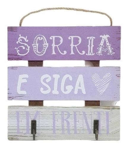 porta chave 2 ganchos placa decorativa madeira frases
