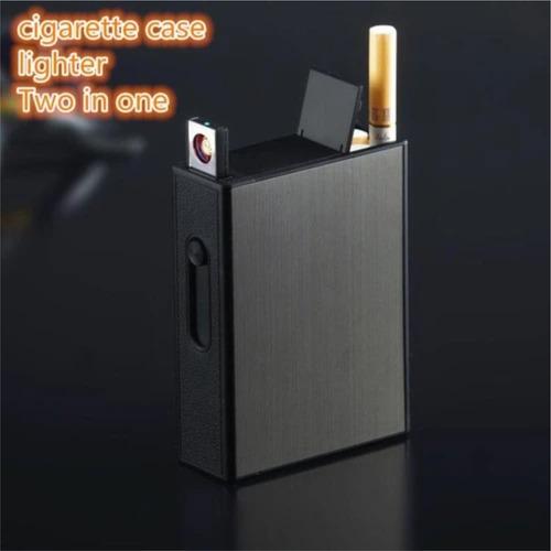 porta cigarros cigarreira p/  20 cigarros +isqueiro elétrico