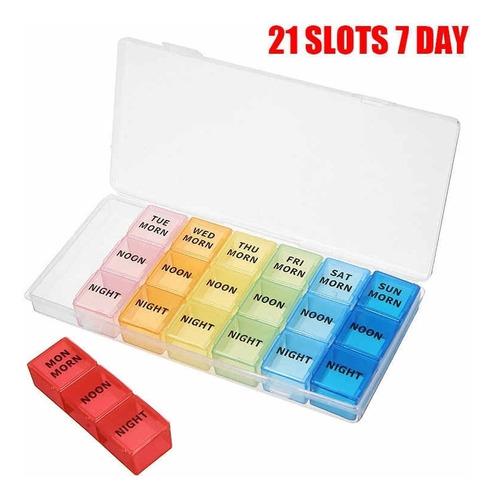 porta comprimidos capsulas 21 divisorias portatil colorido