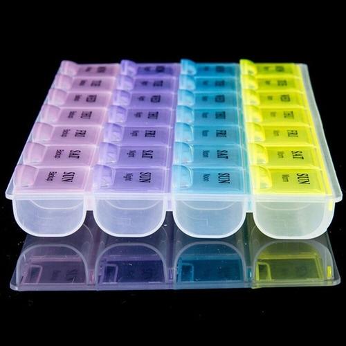 porta comprimidos capsulas colorido 4 divisorias dia semanal