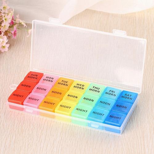 porta comprimidos semanal 21 divisorias portatil colorido