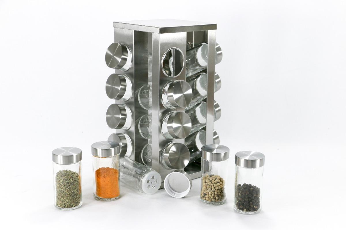 Porta condimento girat rio inox 16 potes vidro unyhome r for O que e porta condimentos