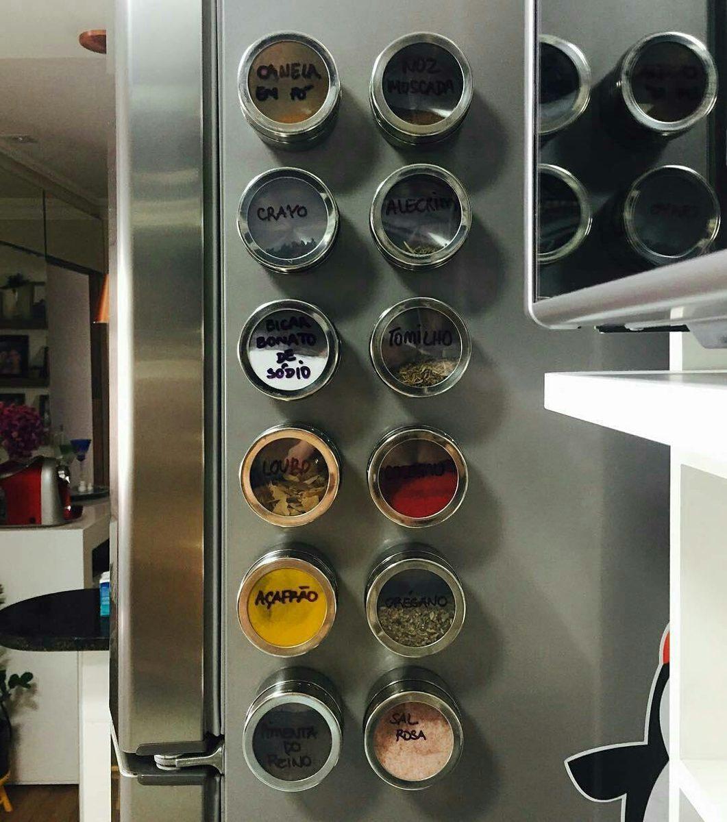 porta condimento tempero inox magn tico im geladeira casa