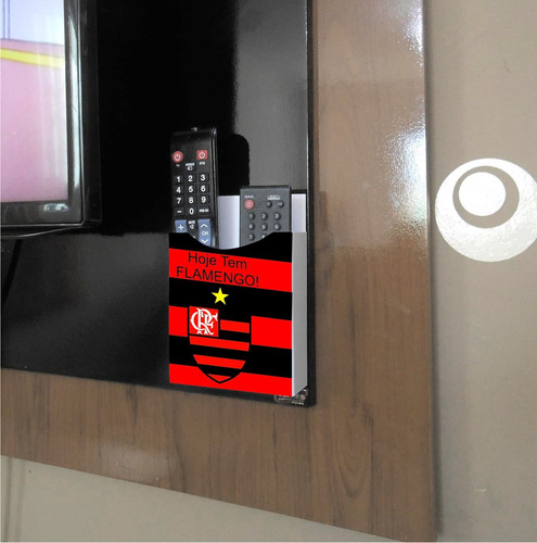 porta controle remoto de parede ou rack - times (flamengo)