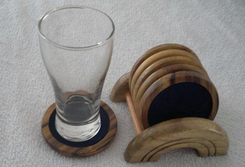 porta copos bolacha chopp em madeira kit 06 pçs corta gotas