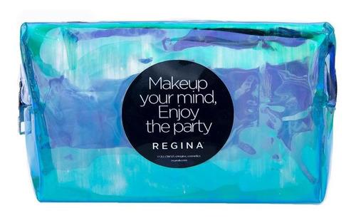porta cosméticos  azul tornasol