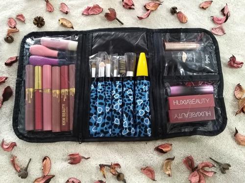 porta cosméticos estuche organizador maquillaje triple.
