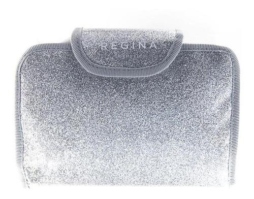 porta cosméticos rectángulo plata con espejo #216 regina