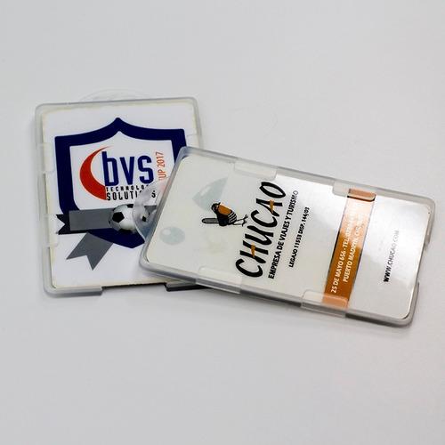 porta credenciales rígidos tipo bolsillo pvc holder pack 10u