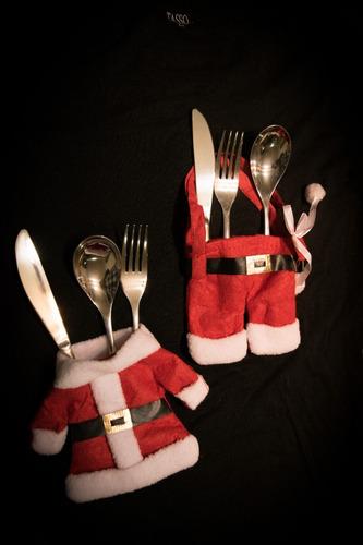 porta cubiertos navideños set 6 pzas