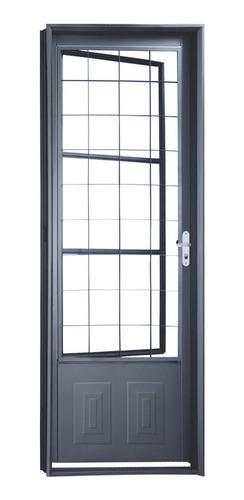 porta de aço com postigo grade quadriculada minas sul cd