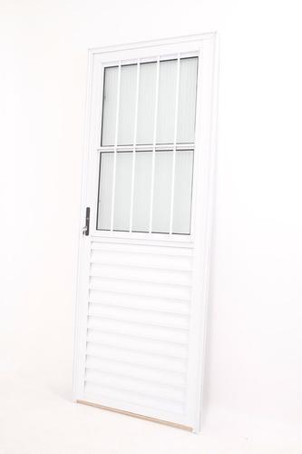 porta de alumínio  . branca. 2.10 x 0.80 social linha 25