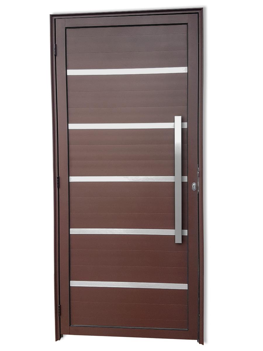 Porta De Alum Nio Marrom 210x100 Completa Lambril Premium